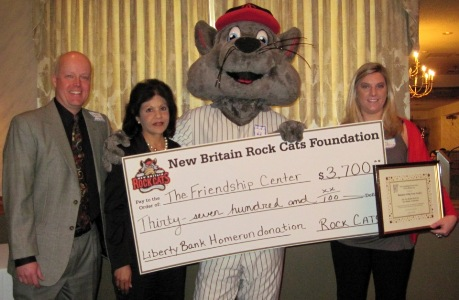 left to right: Steve Kunsey (Rock Cats), Pam Vatti (Liberty Bank), Rocky the Rock Cat, Amy Helbling (Rock Cats)