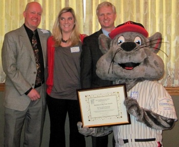 left to right: Steve Kunsey (Rock Cats), Amy Helbling (Rock Cats), Jason Howey (Okay Industries), and Rocky the Rock Cat