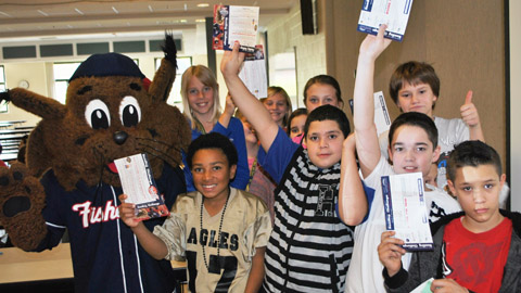 Students at Henry McLaughlin Middle School join Slider for the Fisher Cats Reading Challenge presented by CCSNH.