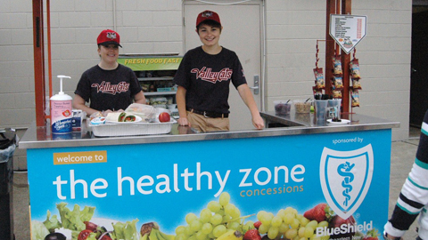 Visit our BlueShield Healthy Zone concession kiosk on the first base concourse!