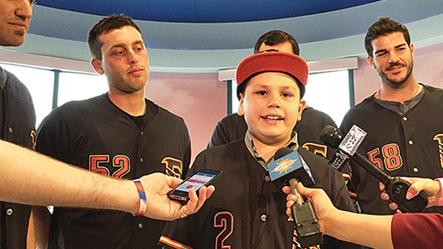 Jackson Standifer takes questions from the media after being signed to a one-day contract on Tuesday, April 7th at Valley Children's Hospital