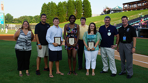 The winners were honored at the July 19 game at Knights Stadium. (Audrey Stanek/Charlotte Knights)
