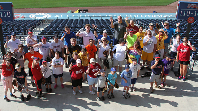 Last year's Baseball Buddies Camp participants gathered for a group photo at Coolray Field. (Gwinnett Braves)
