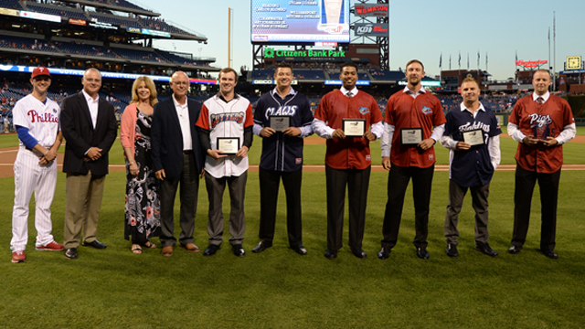 Phillies minor leaguers were presented with the Step-Up Community Service Award by Phillies Assistant General Manager Benny Looper and Director of Baseball Administration Susan Ingersoll Papaneri. (Miles Kennedy, Philadelphia Phillies)