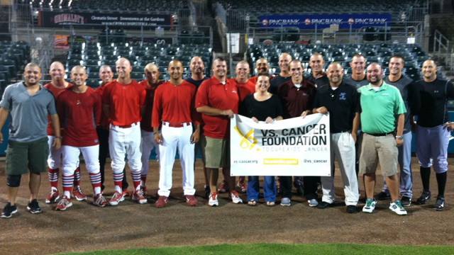 Members of the Palm Beach Cardinals and Jupiter Hammerheads shaved their heads on June 17 to support the Vs. Cancer Foundation. Over $7,500 was raised for the event.