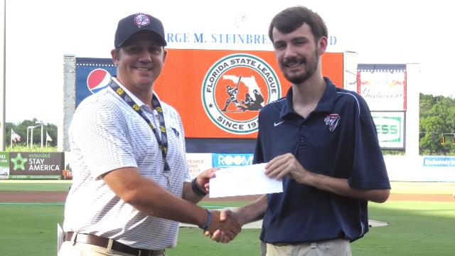 Austin Kaufman received his scholarship from AGM Matt Gess. (Yankees)