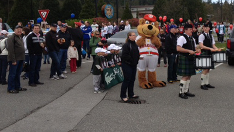 From pipe bands to first pitches, its been a busy week for C's mascot Bob Brown Bear!