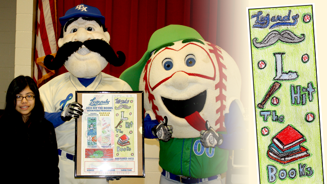 Ana Flores-Ortiz, a Bourbon Central Elementary student and winner of the Lexington Legends Hit the Books bookmark design contest, was congratulated by the Legends' Big L (center) and Pee Wee during a presentation at the school March 3. (Bourbon Central Elementary/Lexington Legends)