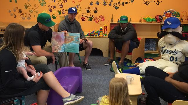 "Lexington Legends players, front office staff and Big L made a visit to Greenhouse 17, the first stop on the Legends ""15 Days of Service"" program. (Lexington Legends)"